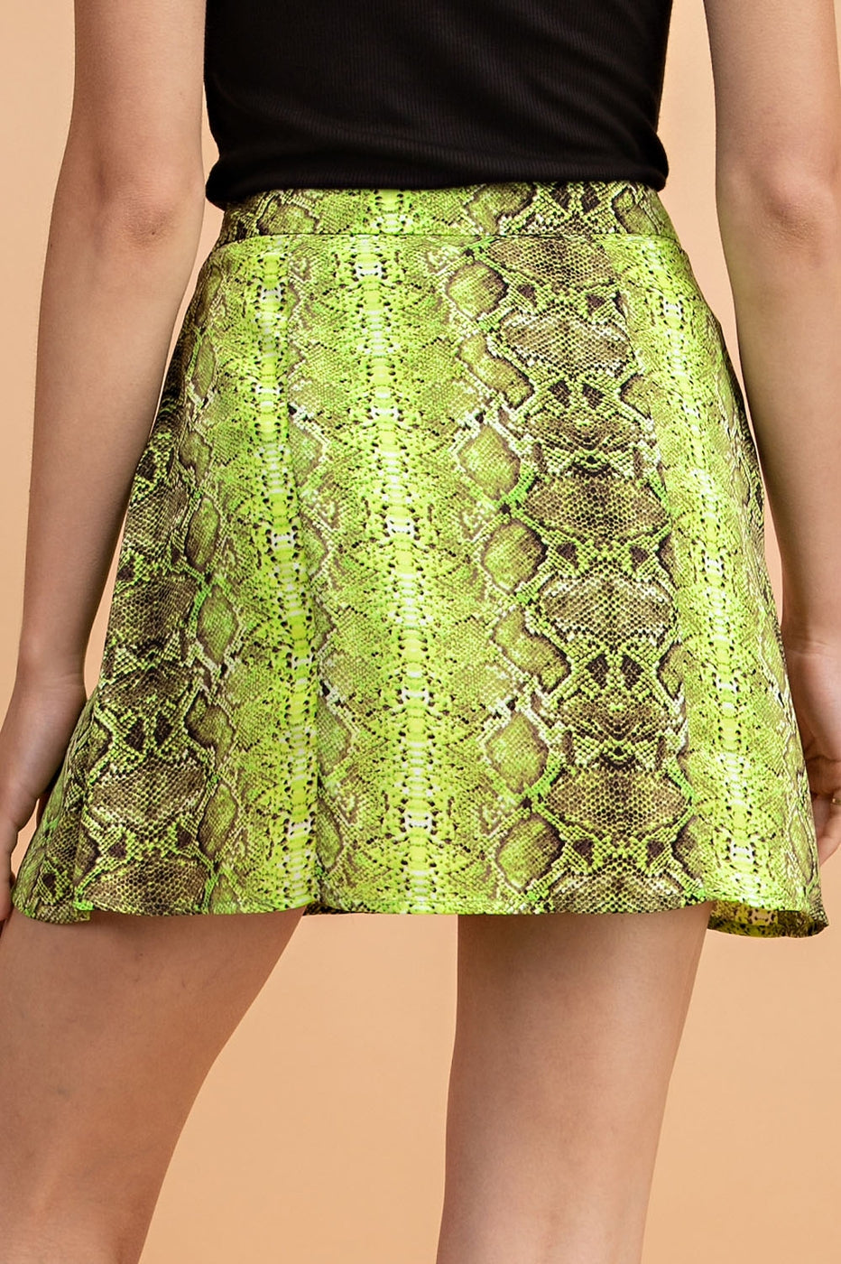 Snake Print Mini Skirt In Neon-Green - Siin Bees