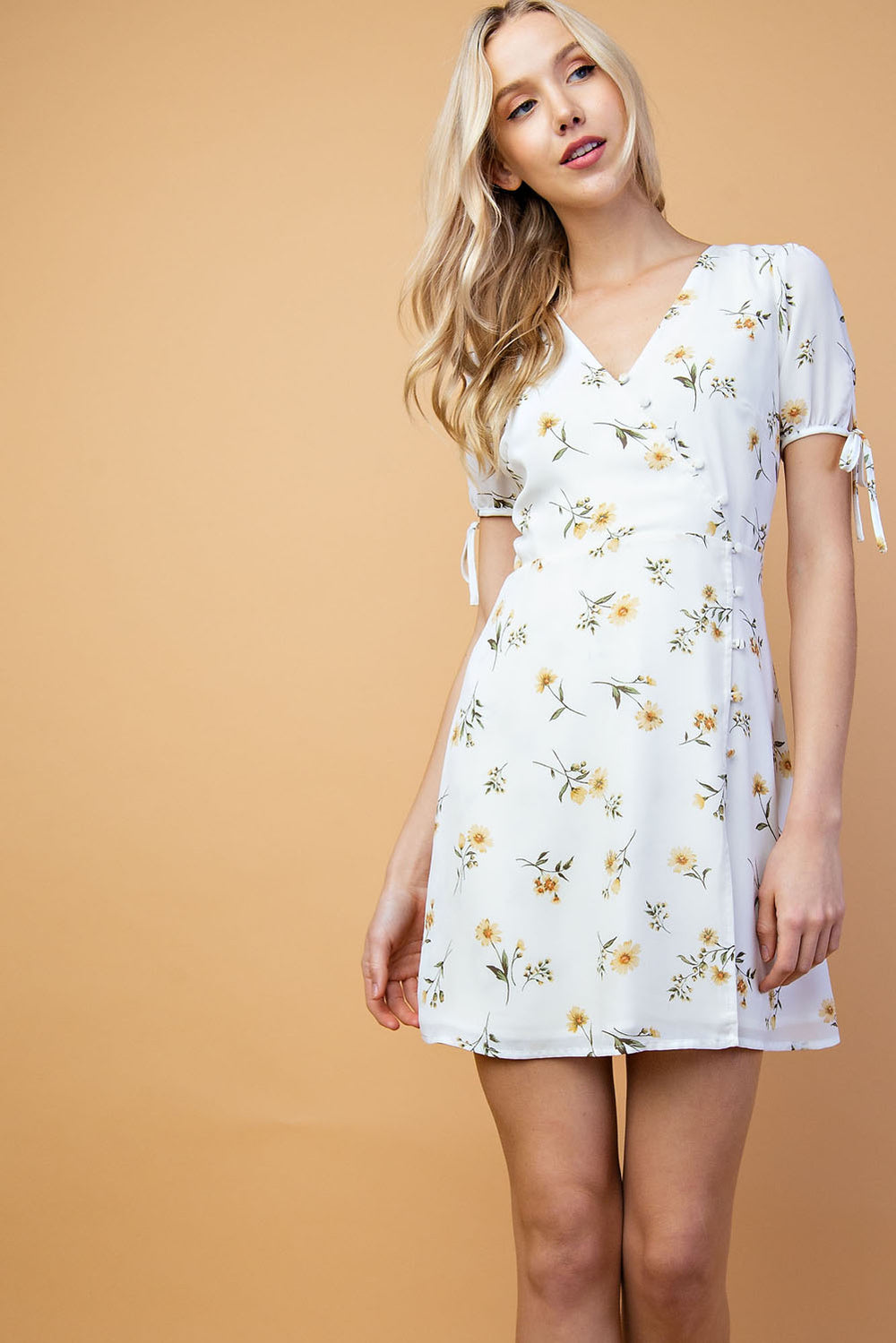 Melanie Floral Mini Dress With Print Half Sleeve Button Down In White-Multi - Siin Bees