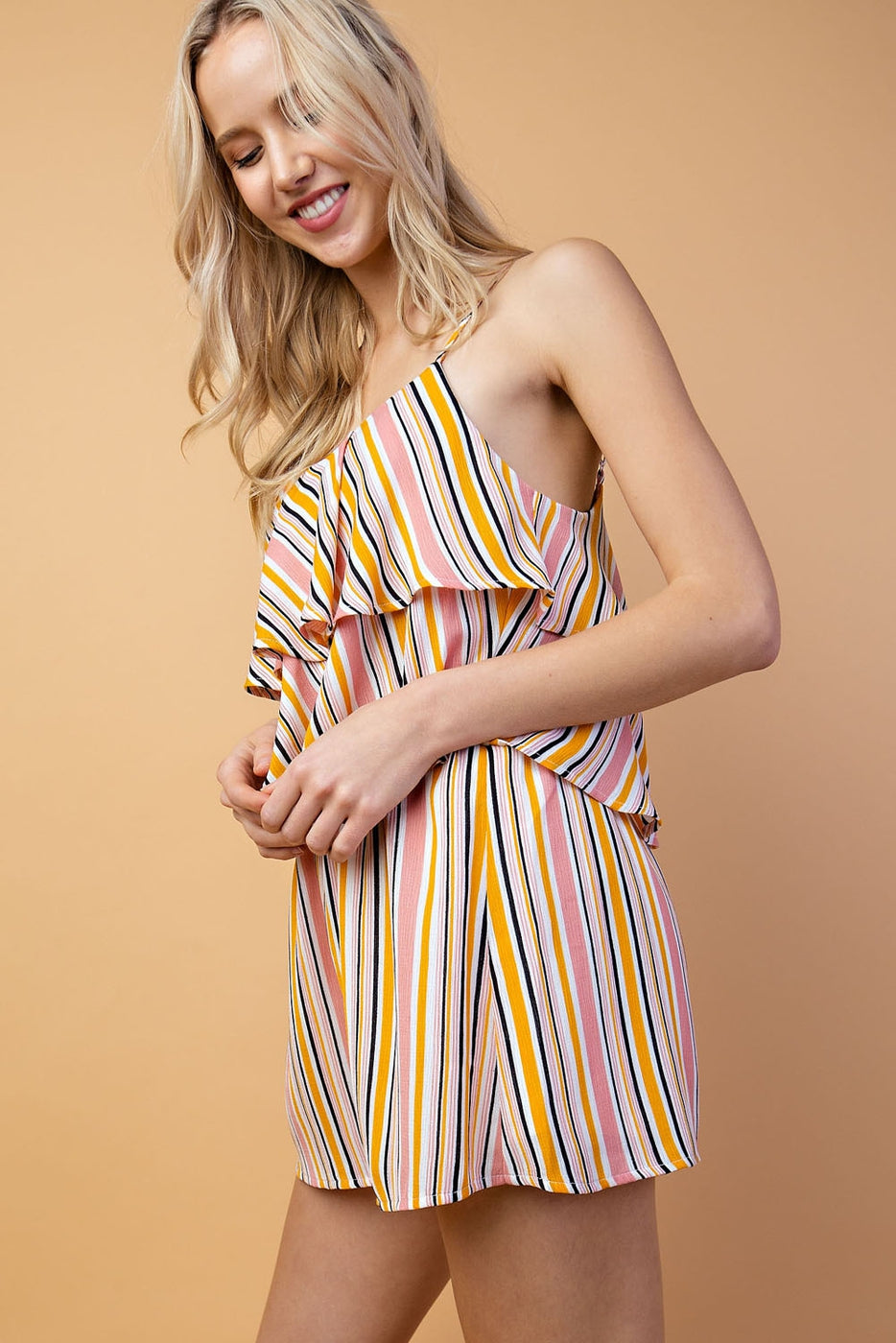 Striped Romper Double Tiered In Pink Multi Siin Bees