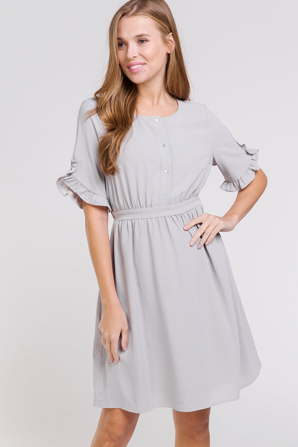Lily Grey Dress Ruffle Short Sleeve Button Up Siin Bees