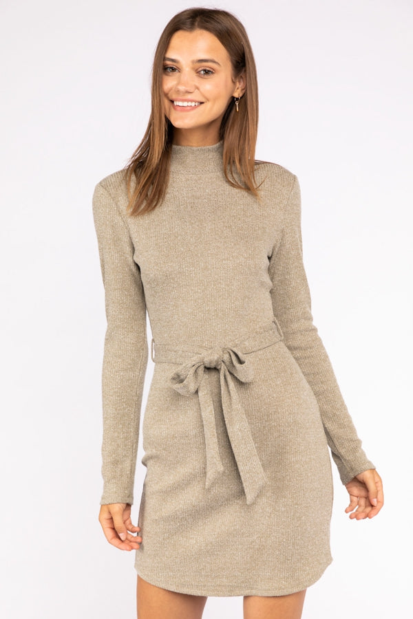 Turtleneck Long Sleeve Ribbed Mini Dress With Waist Tie In Olive Siin Bees