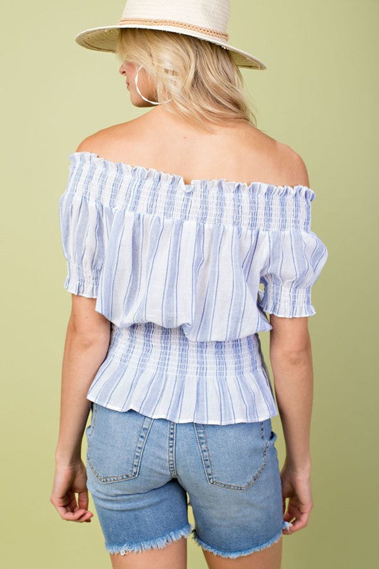 Stripe Print Smocking Off The Shoulder Top With Waist Tie Front Detail Siin Bees