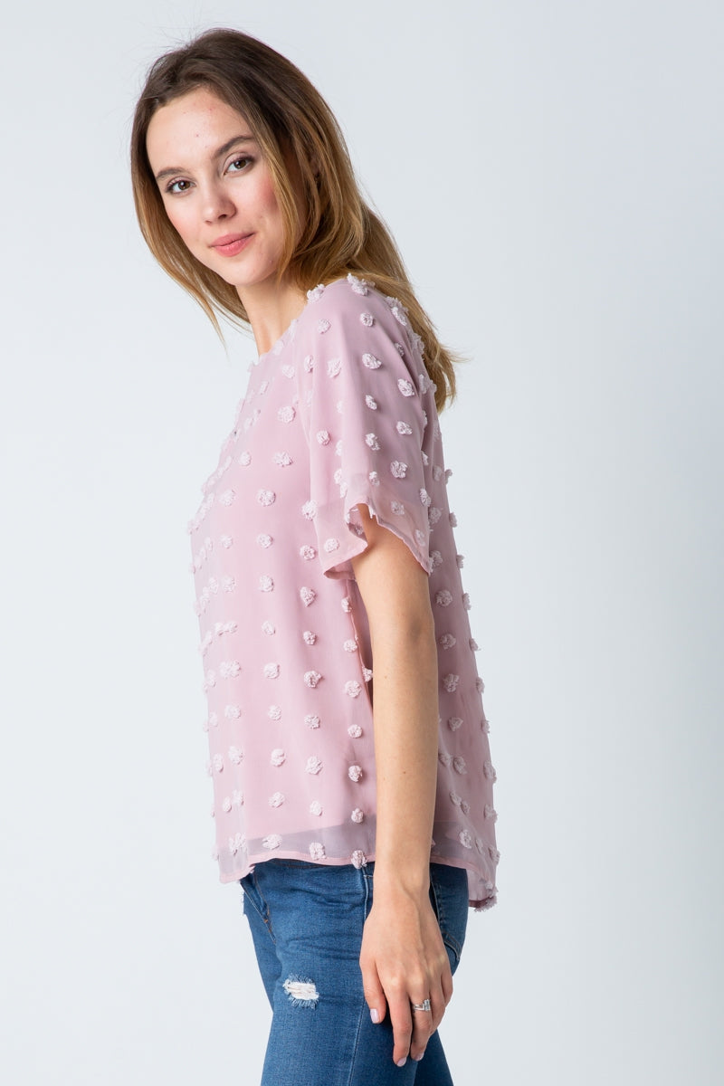 Admirable Short Sleeve Top With Swiss Dot Siin Bees