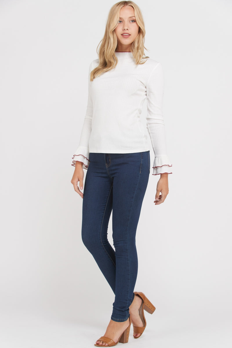 Ivory Long Sleeve Knit Top With Ruffle Detailed Siin Bees