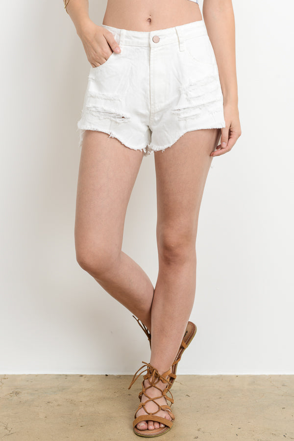 White Distressed Denim Shorts Siin Bees