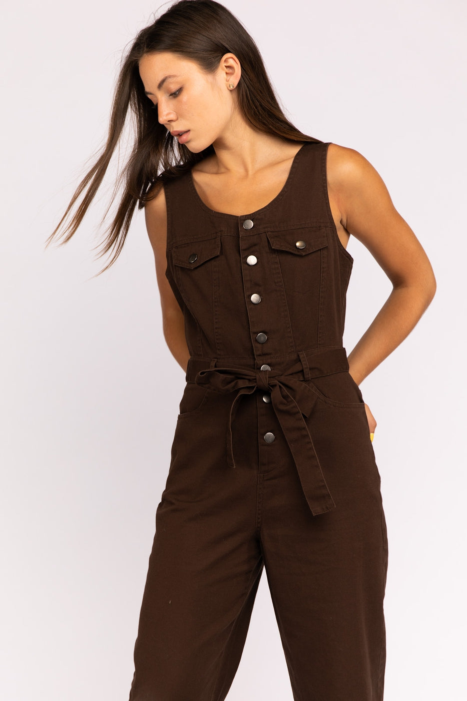 Sleeveless Utility Jumpsuit With Waist Tie In Dark Brown Siin Bees