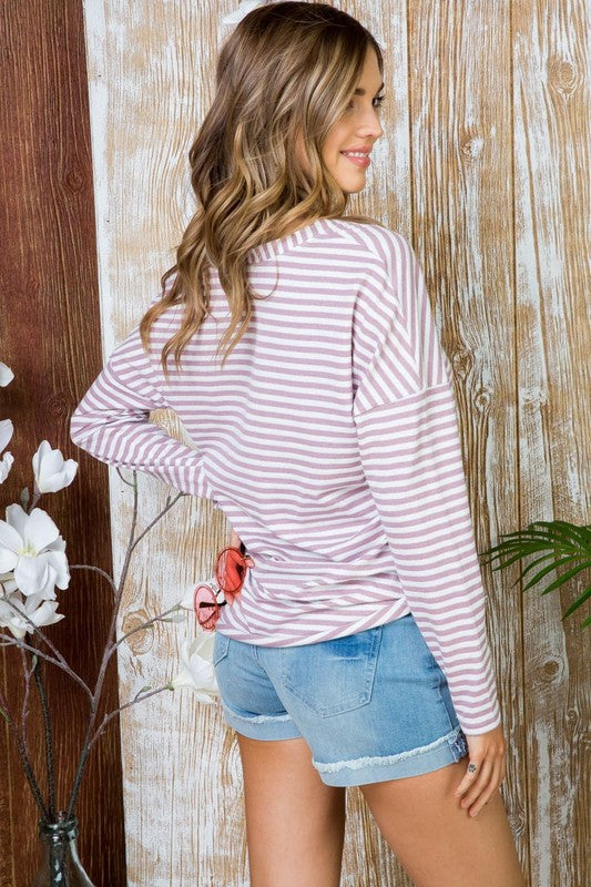 Tie Front Stripe Knit High Low Top with Button Front Siin Bees