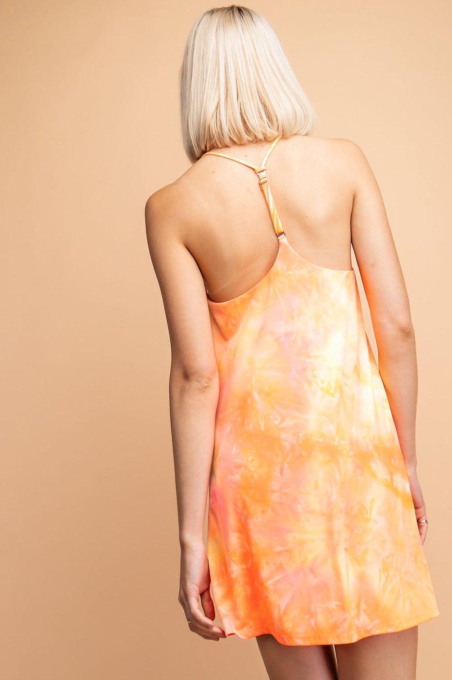 Neon Tie-Dye Single Strap Back Detail Mini Dress Siin Bees