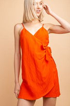 Linen Wrap Dress In Orange - Siin Bees