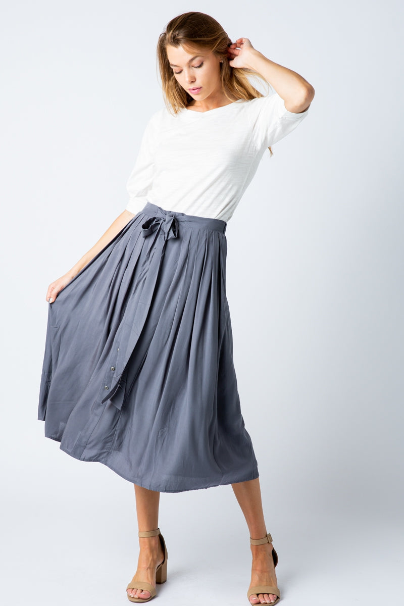 Charcoal Midi Skirt with Front Button Details Siin Bees
