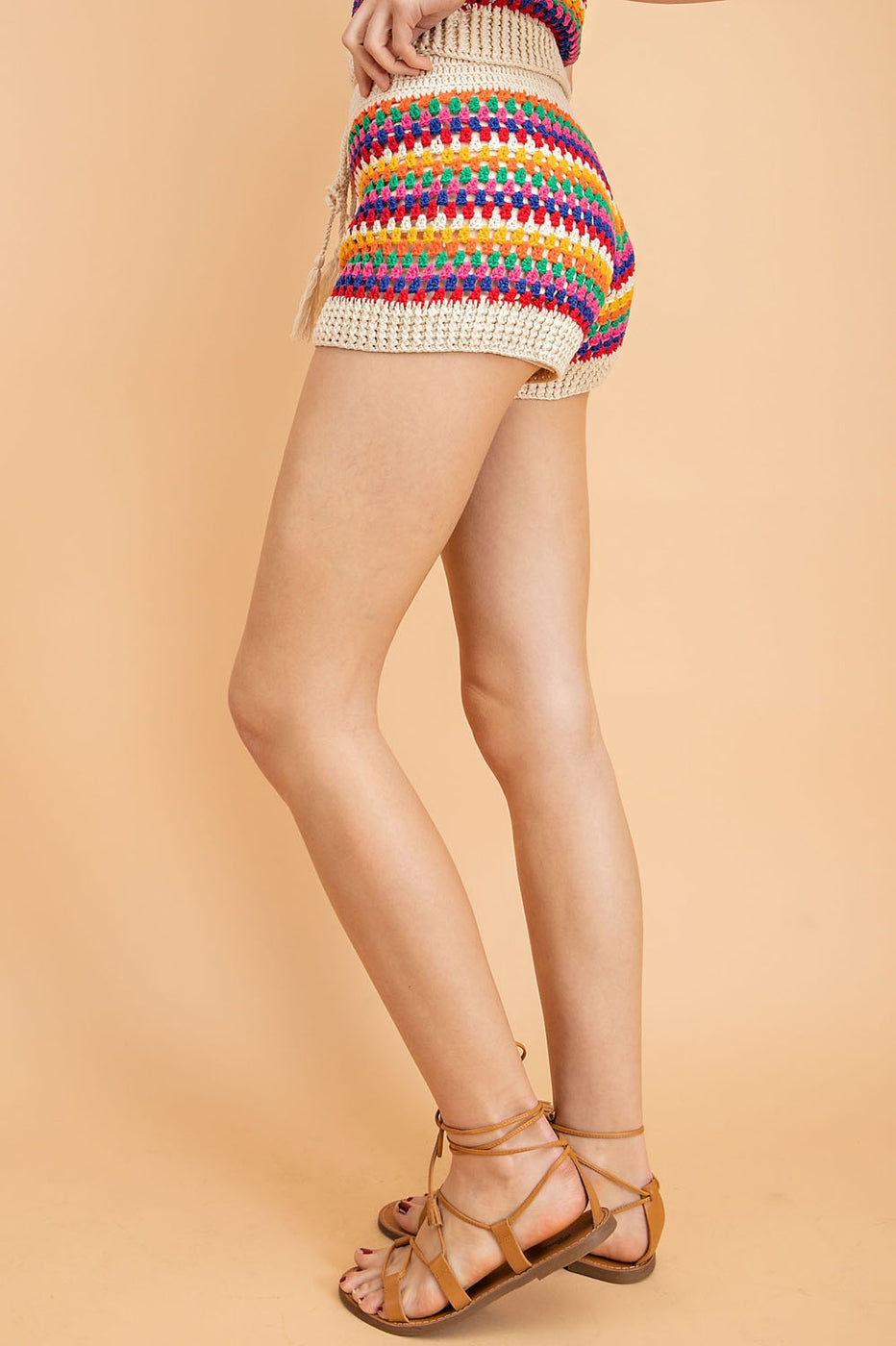 Multi Striped Crochet Shorts Siin Bees