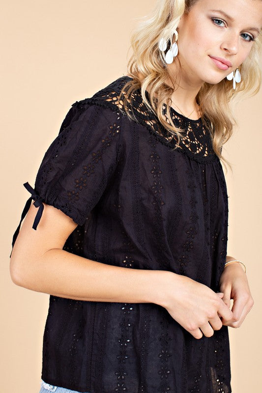 Embroidered Babydoll Tie Sleeve Lace Neck Accent Woven Top Siin Bees