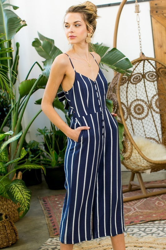 Stripe Print Front Button Side Pocket with Back Bow Tie Hidden Back Zipper Jumpsuit Siin Bees