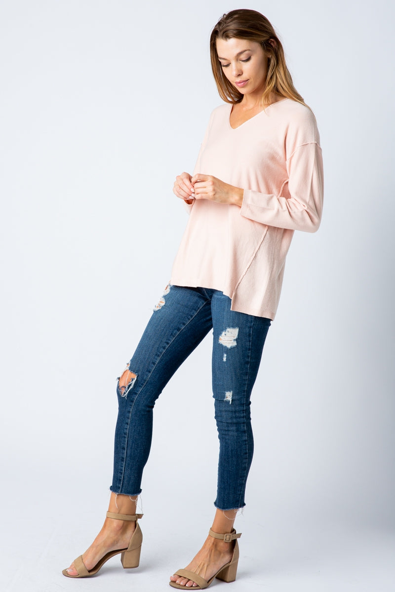 Blush T-Shirt Drop Shoulder Long Sleeve With V-Neck Siin Bees