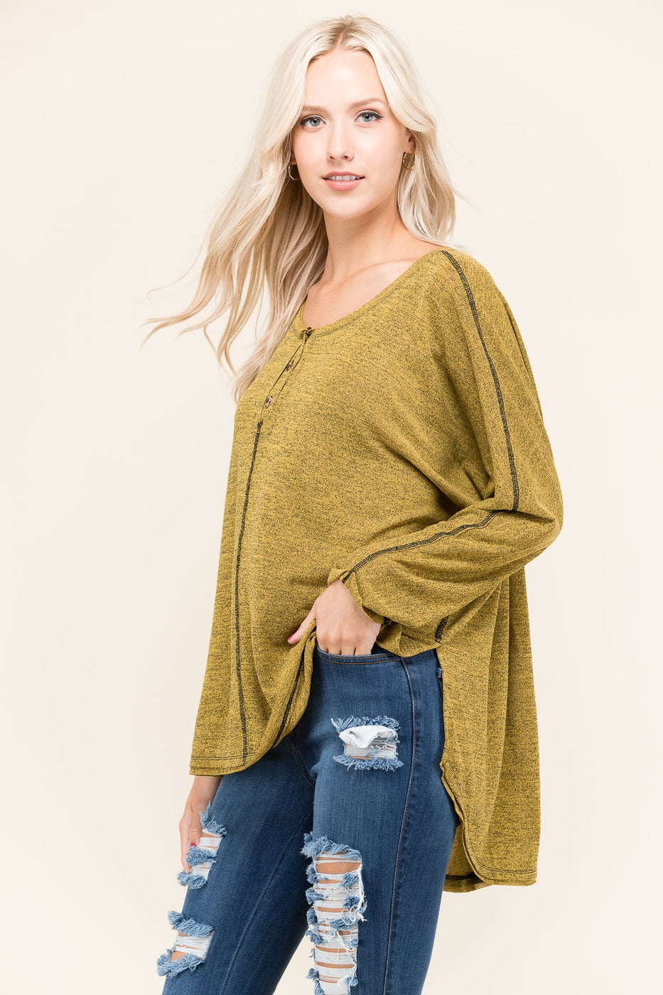 Mustard Solid Tunic Top With Buttons Siin Bees