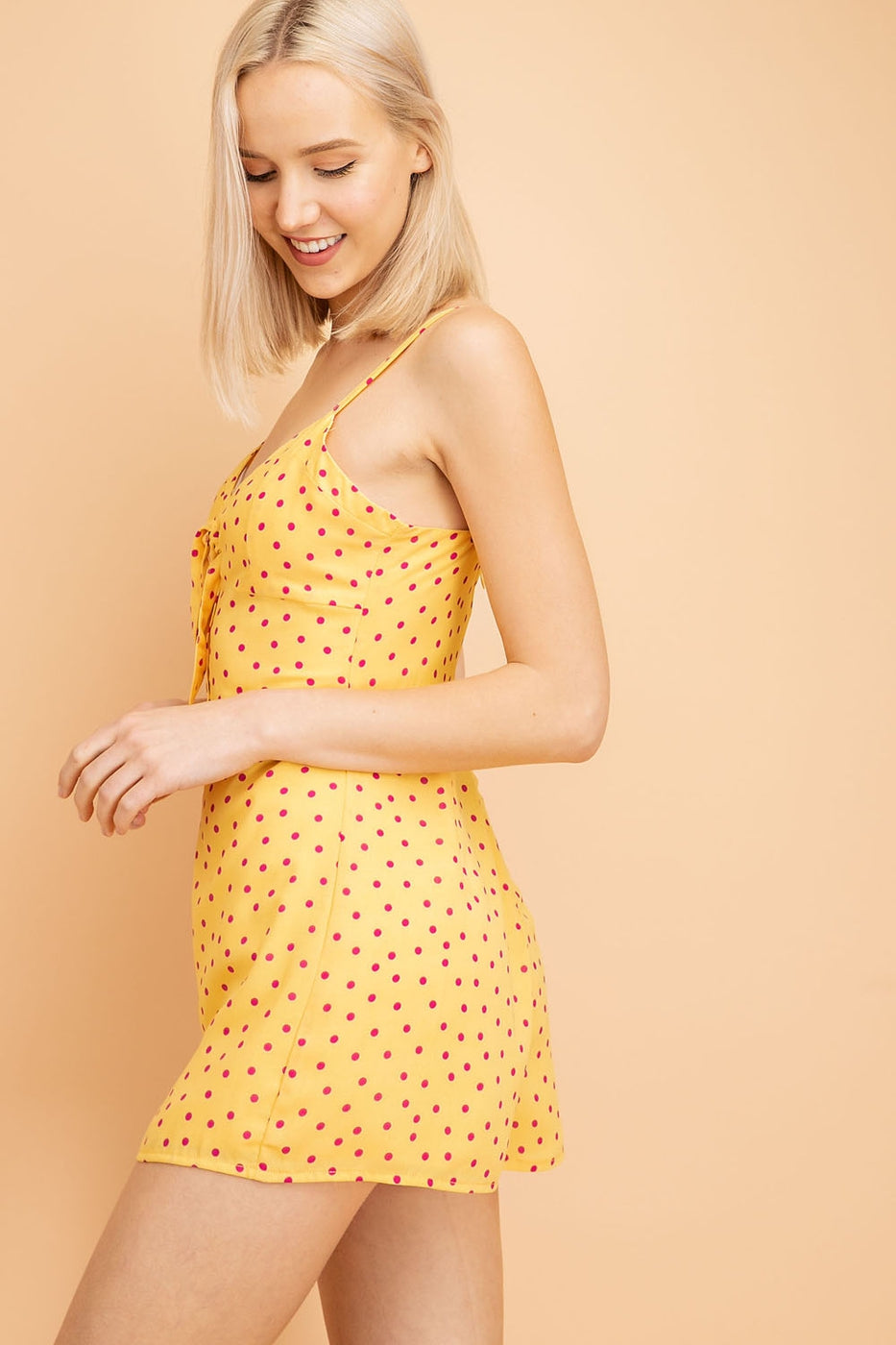 Polka Dot Romper With Tie & Button Detail Siin Bees