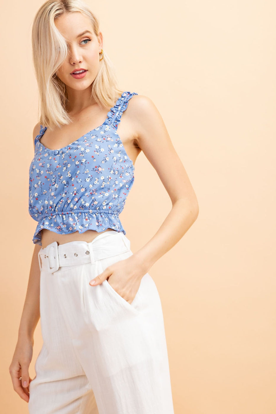 Blue Floral Crop Top With Elastic Waist - Siin Bees