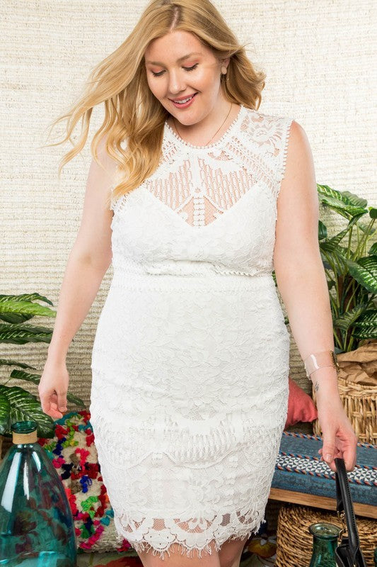 Eliza Off White Crochet lace Dress Siin Bees