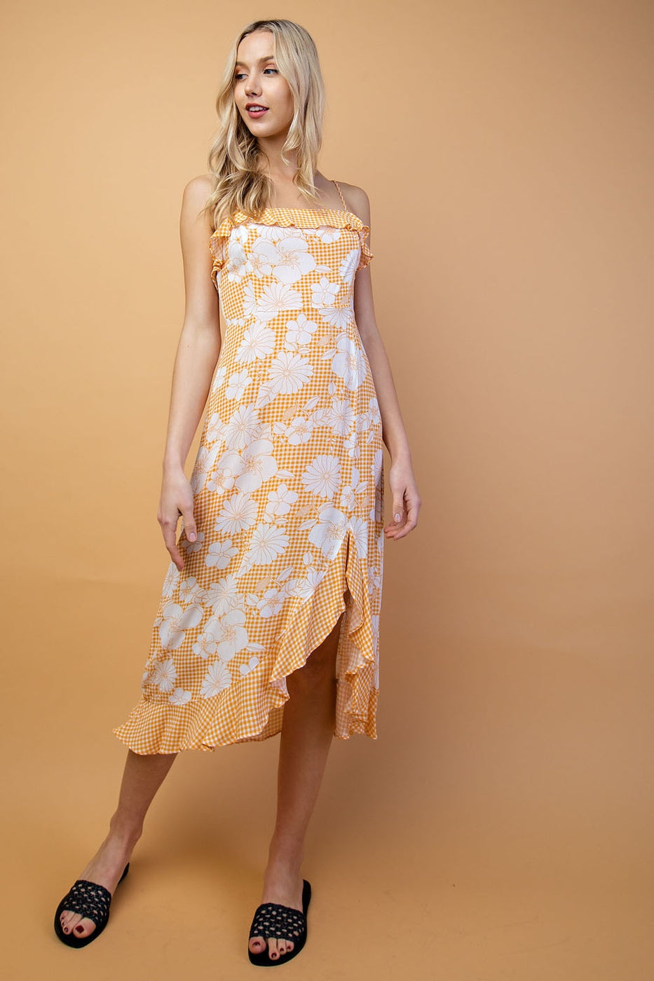 Eliana Floral Midi Dress With Ruffle Detail Siin Bees