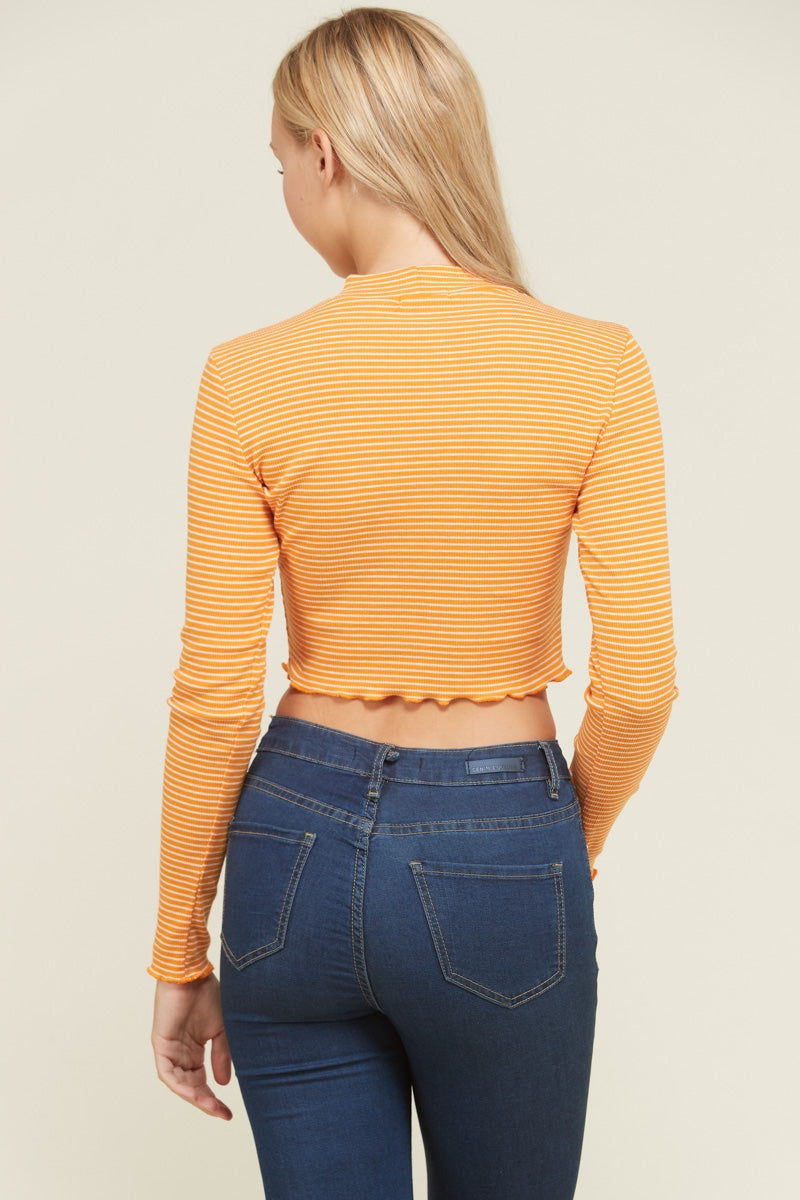 Merrow Detail Stripe Rib Crop Top Siin Bees