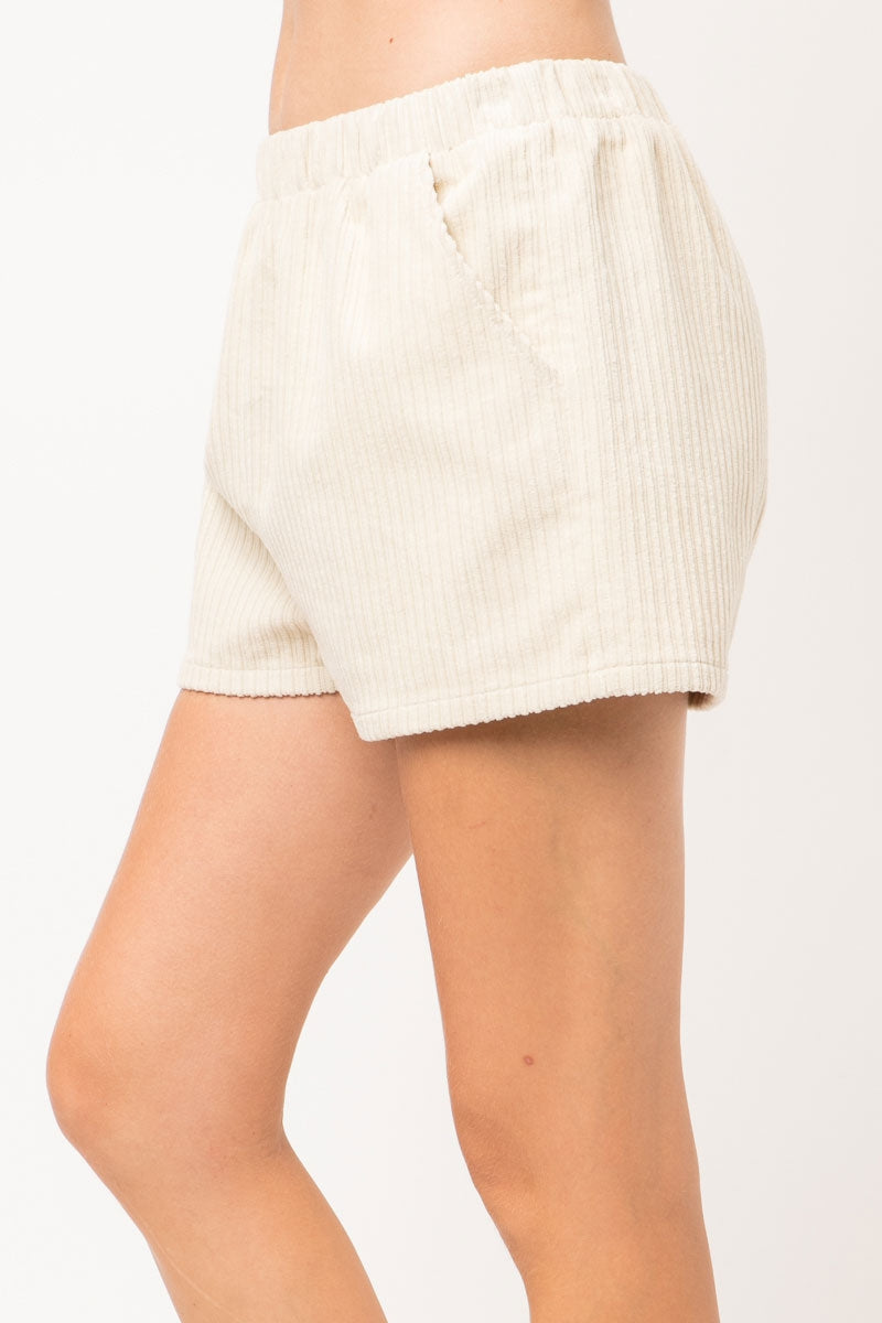 Corduroy Elastic Waist Shorts With Diagonal Pockets In Ivory Siin Bees