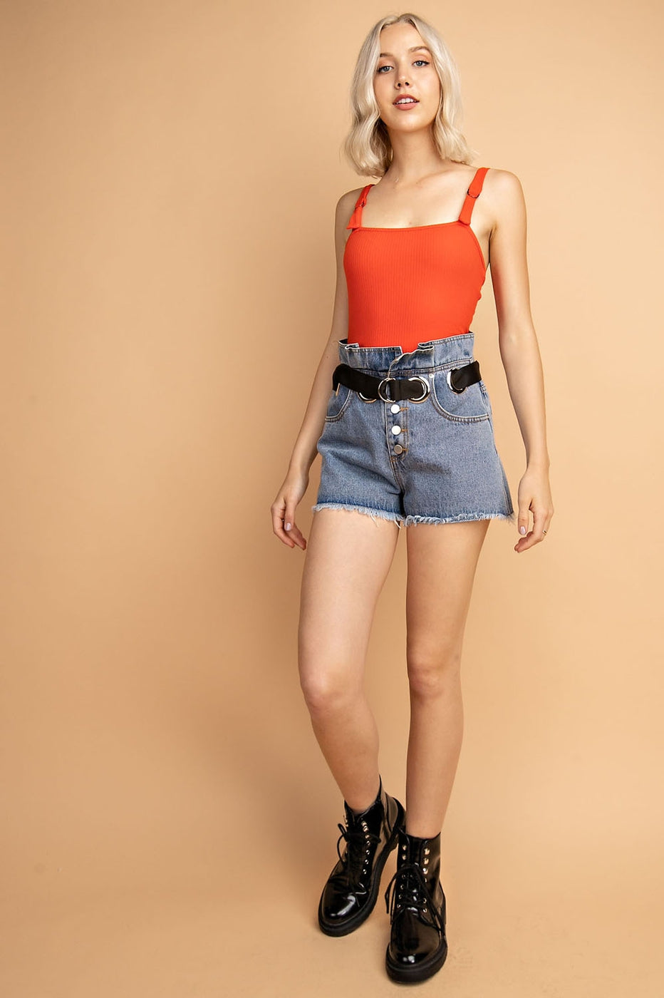 Solid Ribbed Bodysuit With Hardware Adjustable Straps Siin Bees