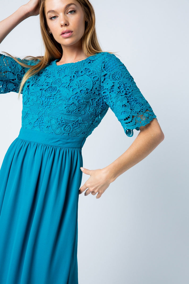 Madeline Maxi Dress With Lace Top In Teal Siin Bees