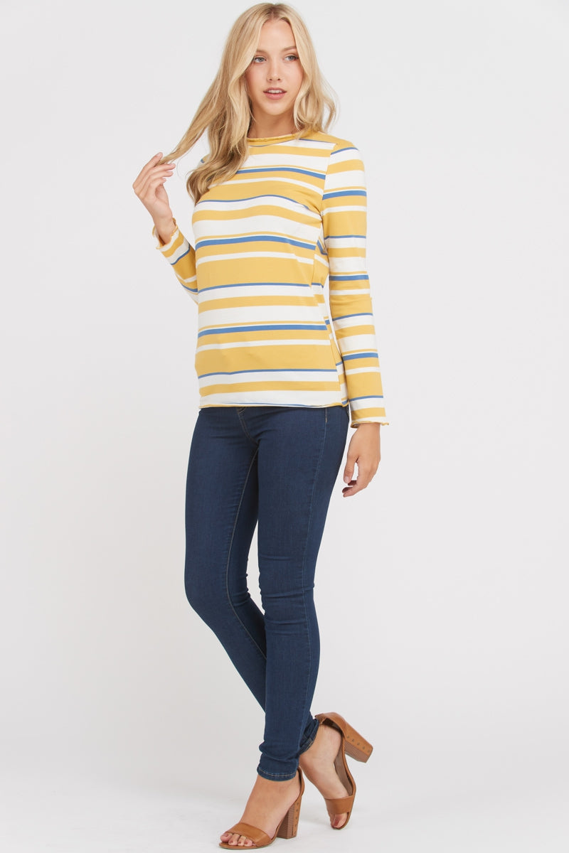 Fun Stripe Knit Top Long Sleeve Siin Bees