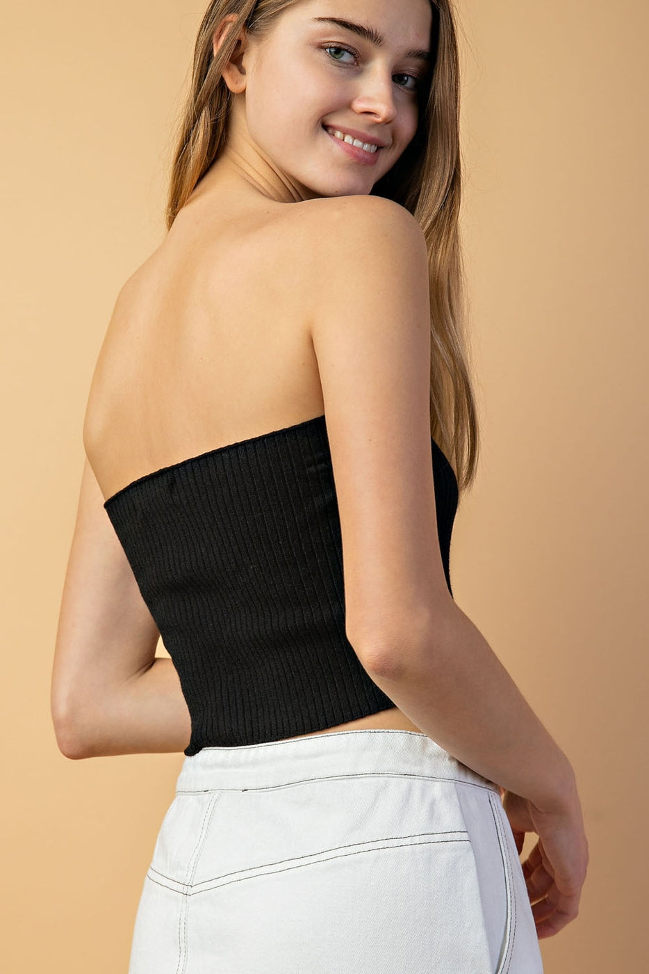Hook And Eye Detail Tube Top In Black Siin Bees