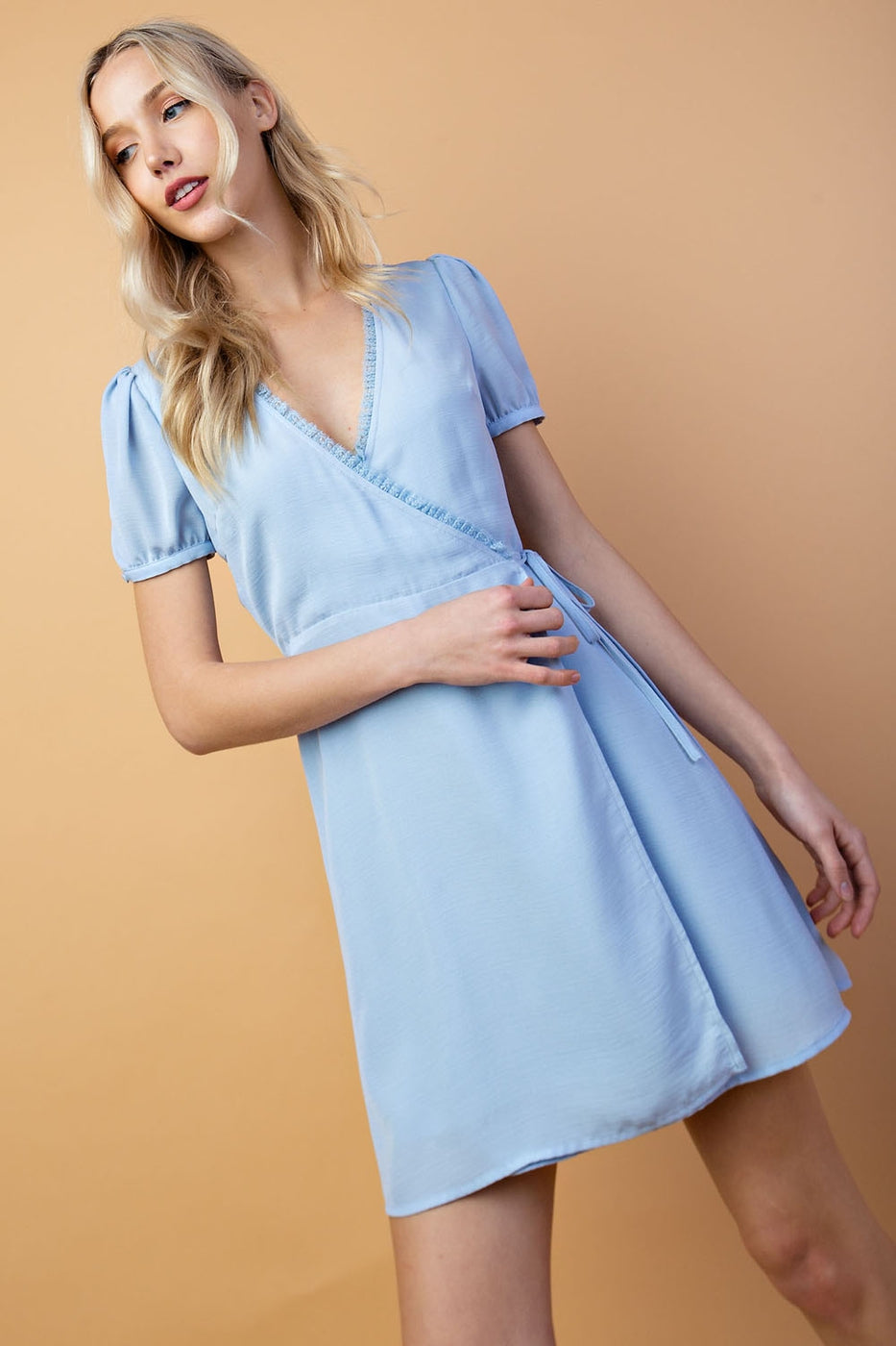 Short Sleeve Wrap Dress with Waist Tie - Siin Bees