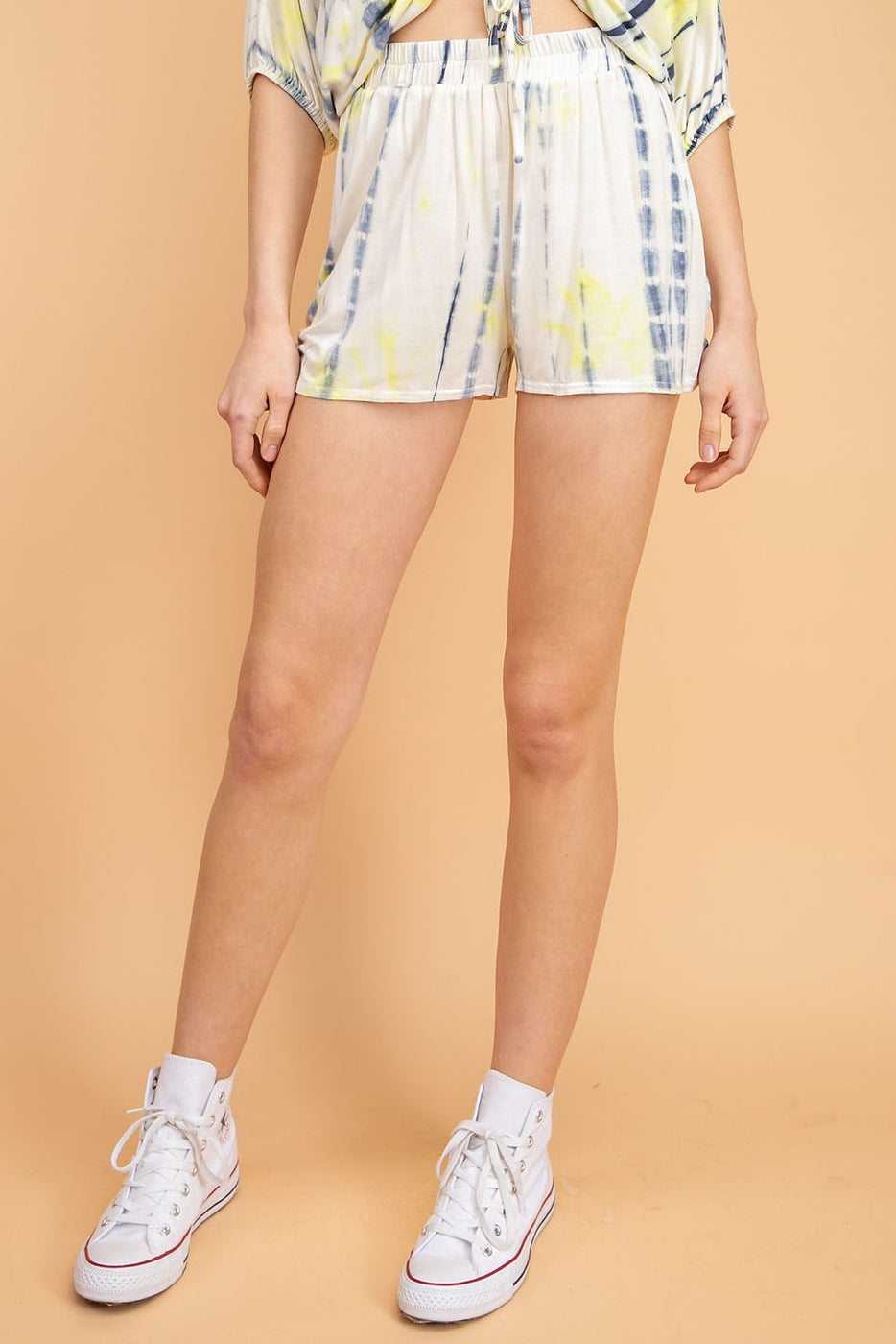 Blue-Yellow Shorts With Tie Dye Front Ruched Siin Bees