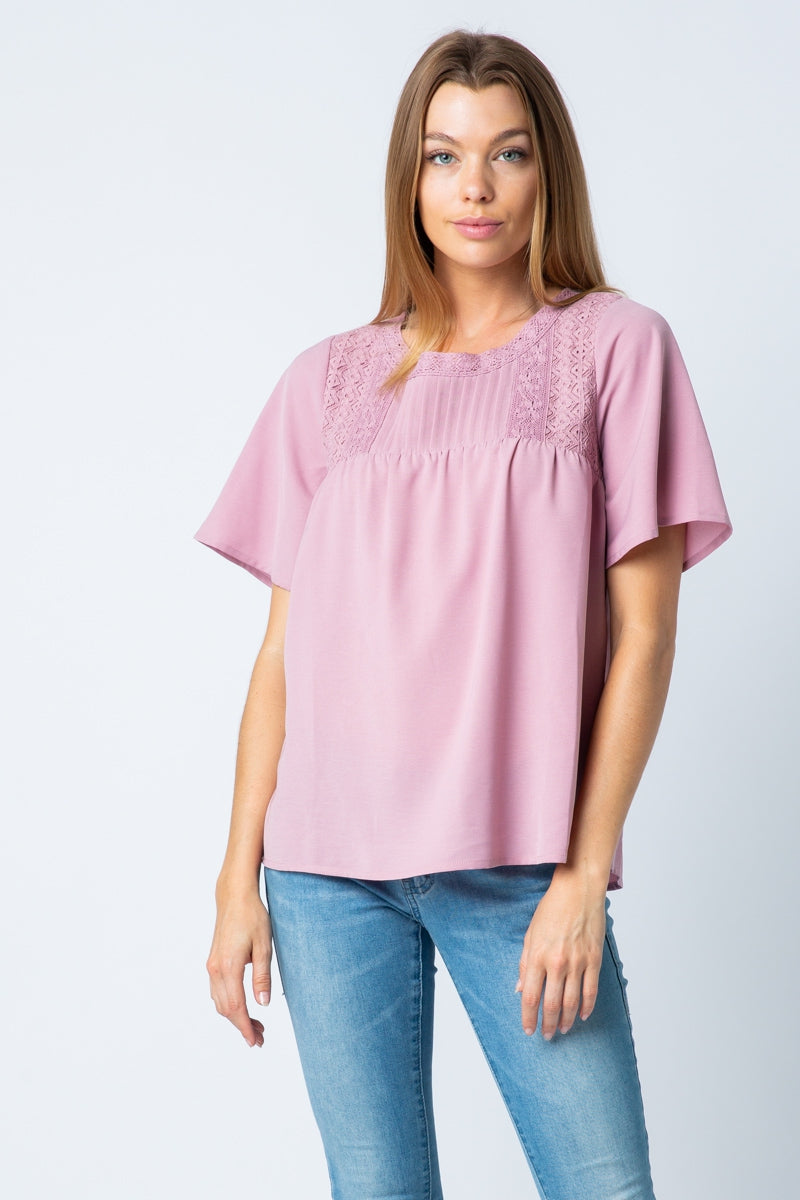 Romantic Mauve Short Sleeve Lace Top and Pleat Yoke Point Top - Siin Bees