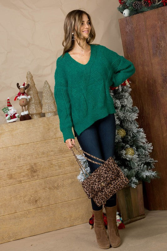 Diamond Shape Hi Low Cable Knit Sweater In Green Siin Bees