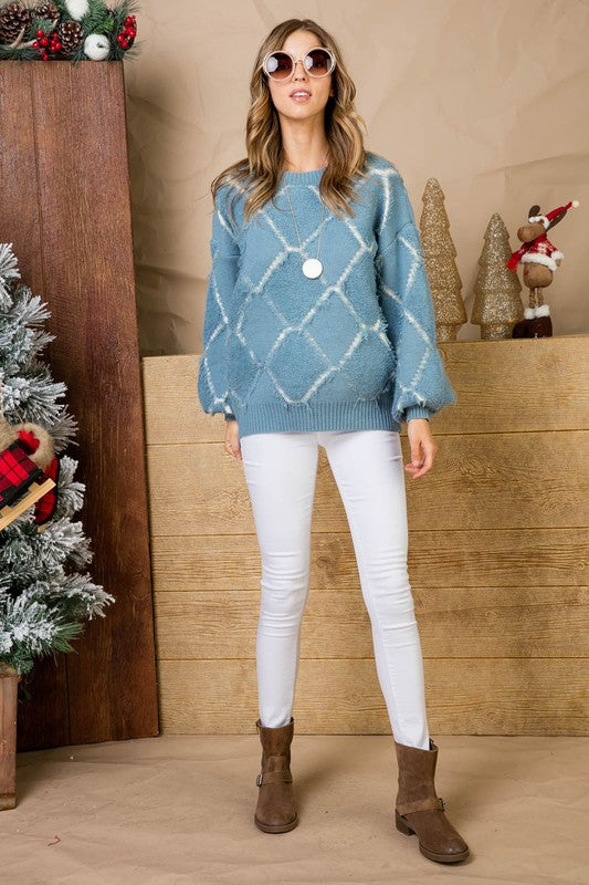 Blue Graphic Diamond Patterned Round Neck Oversized Long Sleeve Sweater Siin Bees