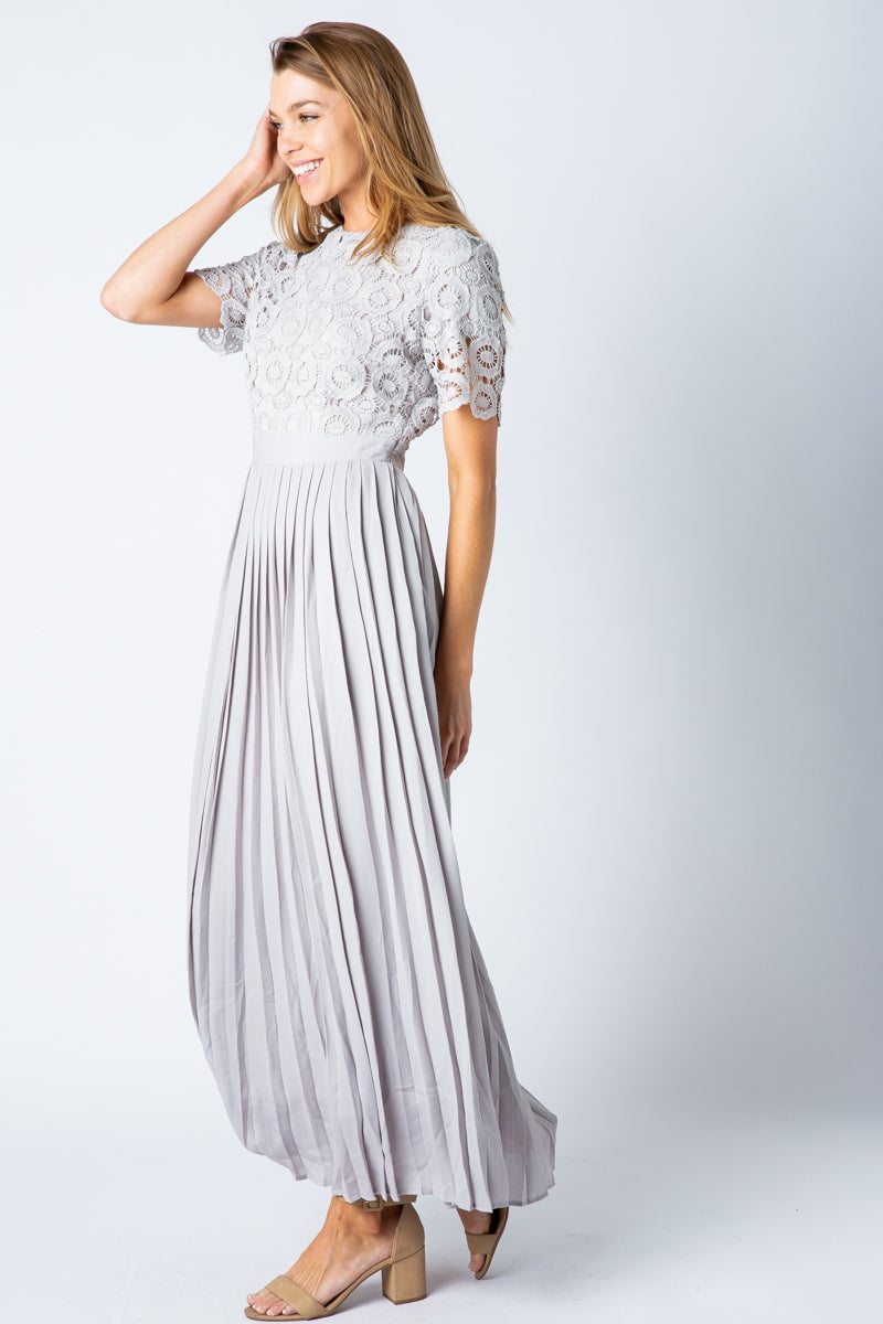 Nyla Maxi Dress With Crochet Top And Pleated Skirt Siin Bees