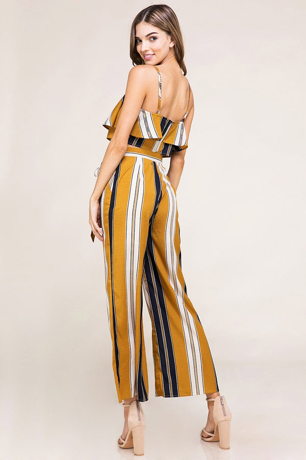 Sweet Pants Set Multi Color Striped 2 Piece Crop Top And Culotte Siin Bees
