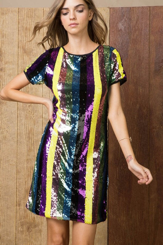 Tie Open Back Detail Sequin Multi Stripe Print Half Sleeve Mini Club Dress Siin Bees