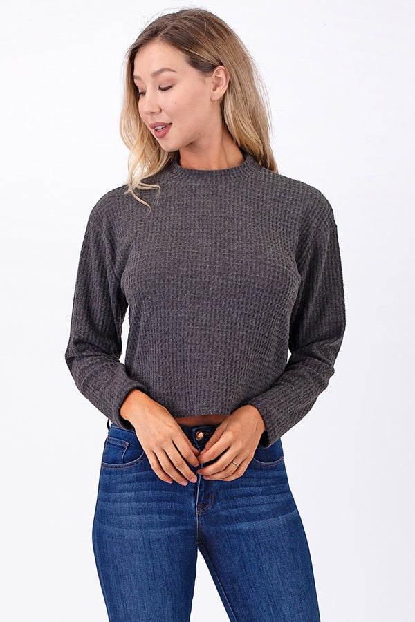 Brushed Waffle Knit Crop Top Siin Bees