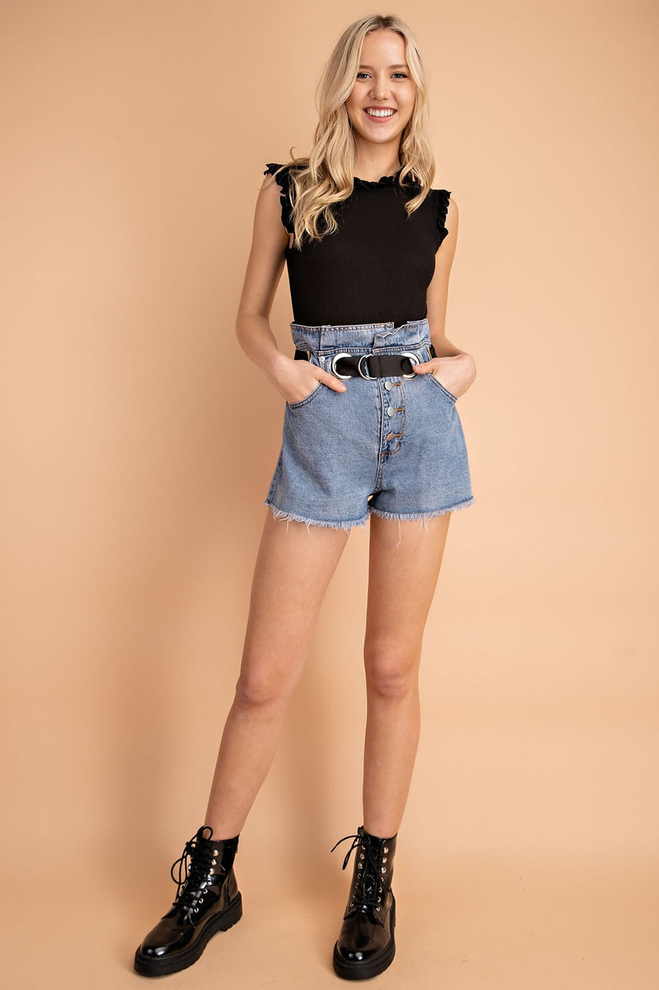 Waist Grommet Detail Short Pants In Denim Siin Bees