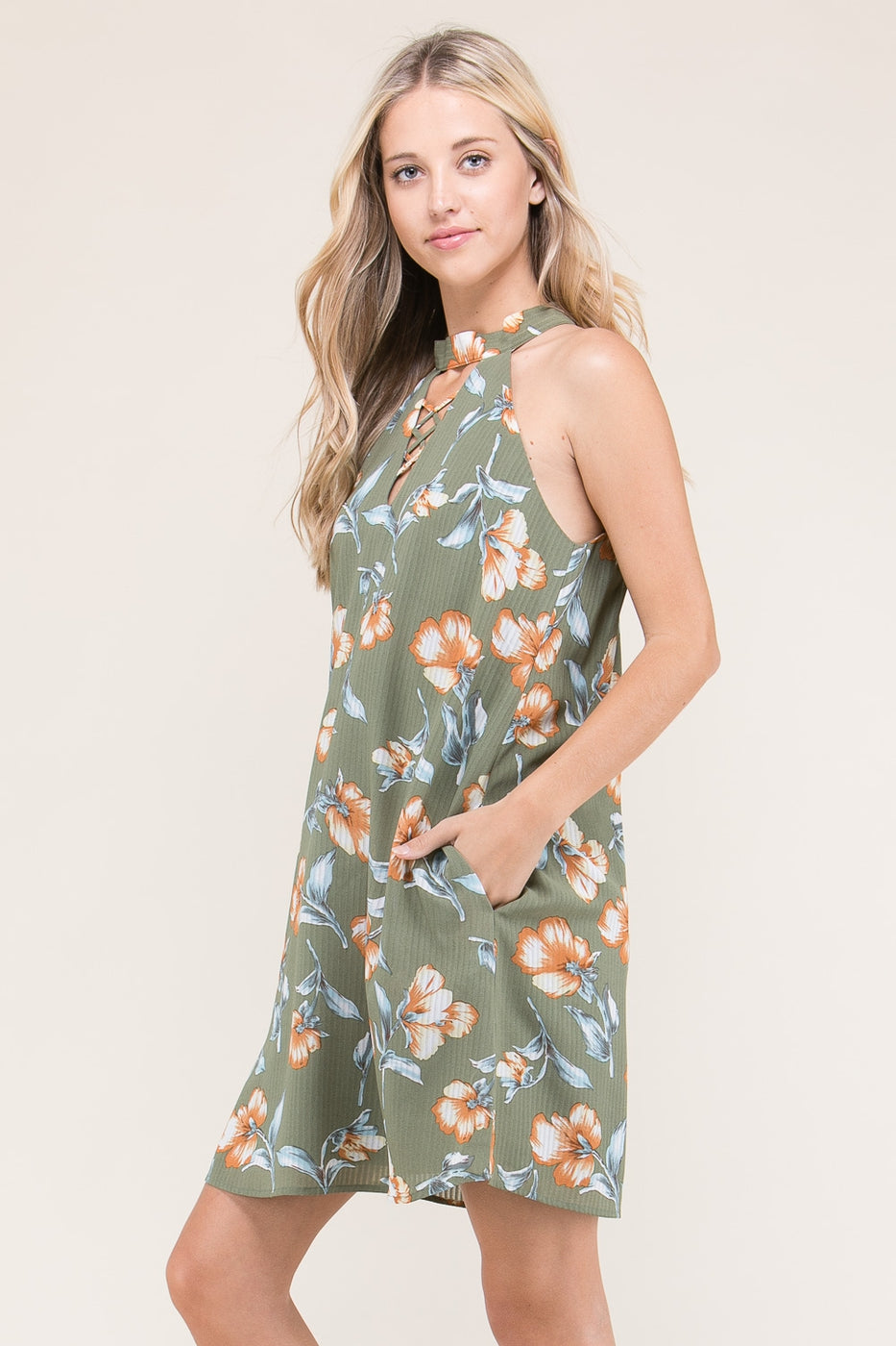 Julia Shift Mini Dress Floral High Neck With Pockets Siin Bees