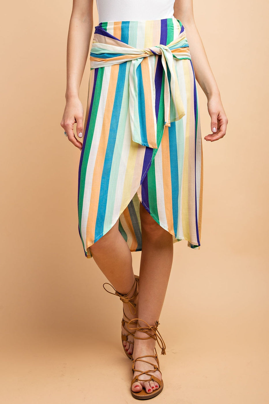 Stripe Print Front Tie Wrap Skirt In Mint-Cobalt-Mango Siin Bees