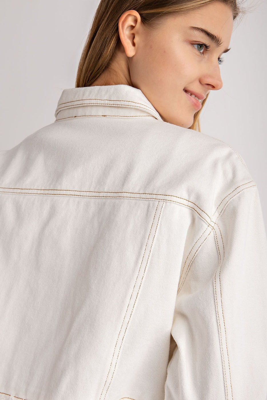 Frayed Button Up Jacket In Ivory Siin Bees
