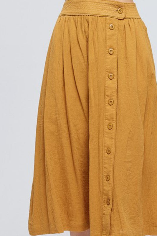 Mustard Midi Skirt Button Down With Fully Lined Siin Bees
