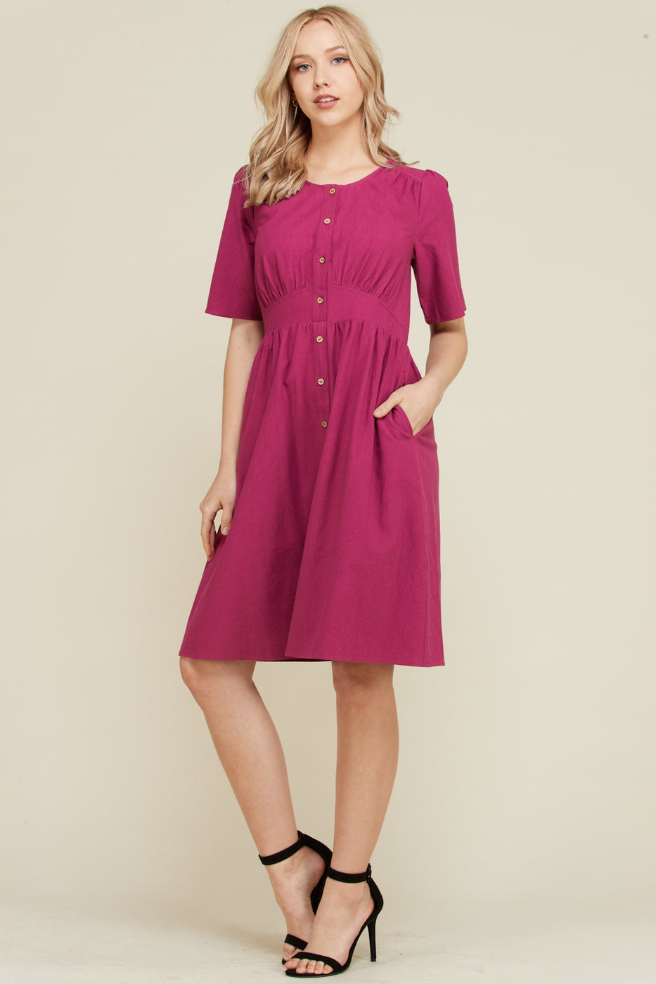 Charming Plum Short Sleeve Dress Front Placket Siin Bees