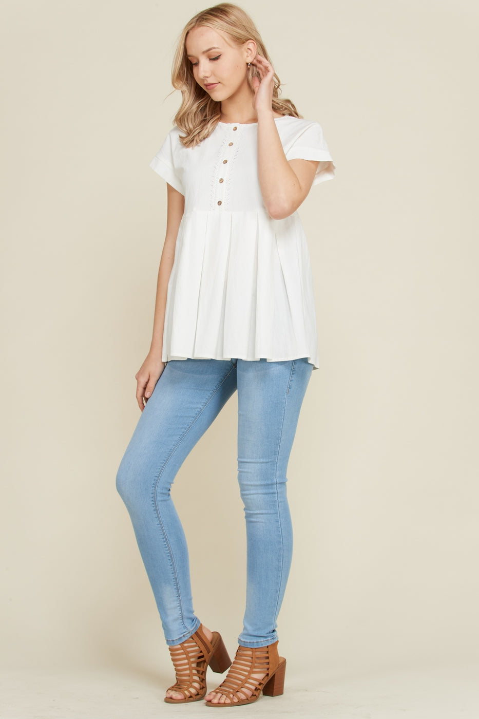 White Short Sleeve Top Front Lace Placket Pleat Bottom Siin Bees