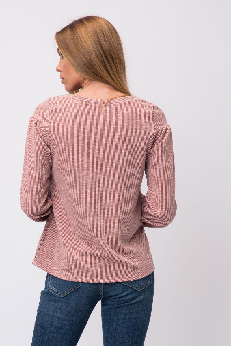 Rust Long Sleeve Top Light Ribbed Siin Bees