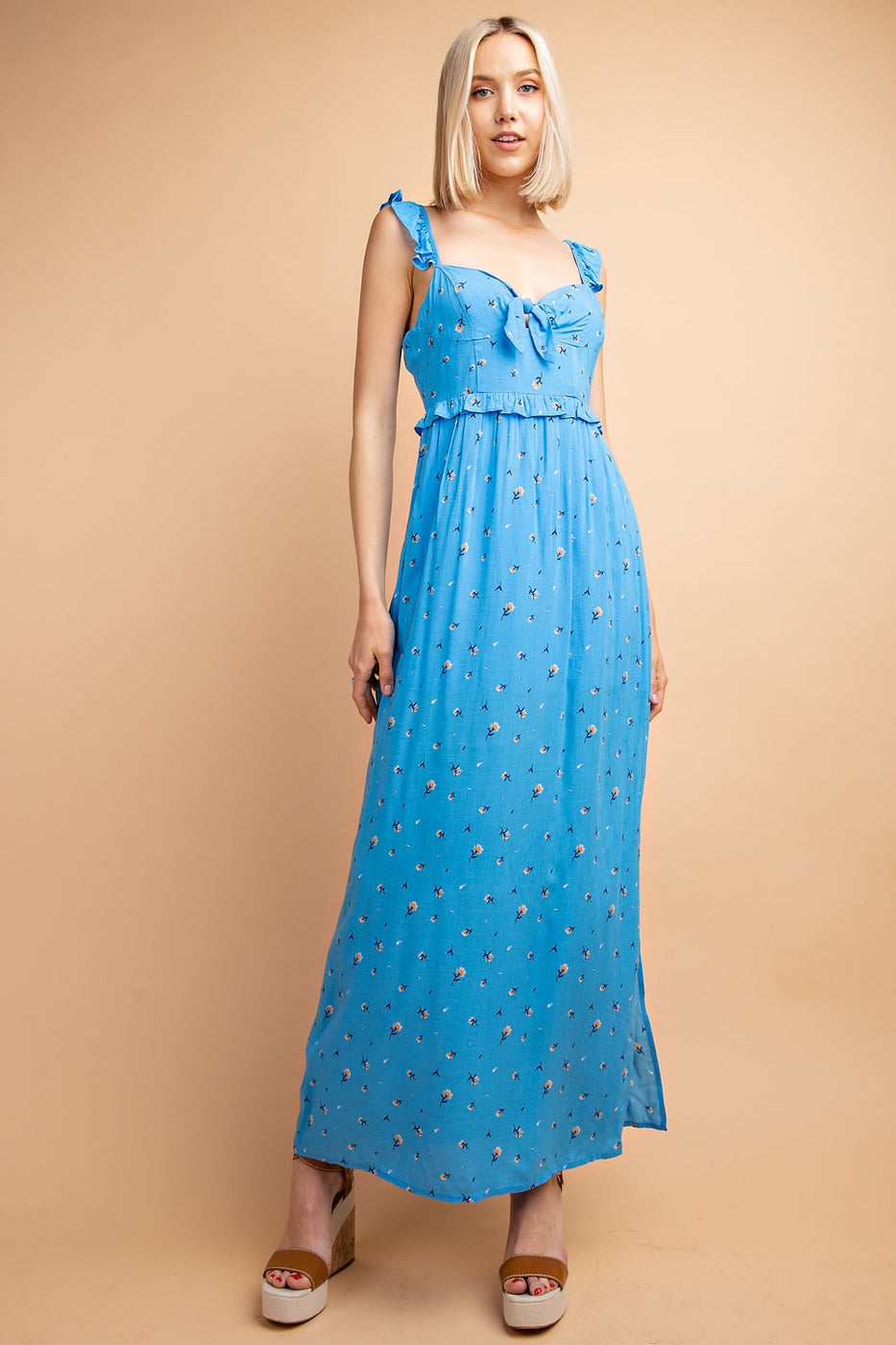 Ditsy Floral Maxi Dress with Side Slits - Siin Bees