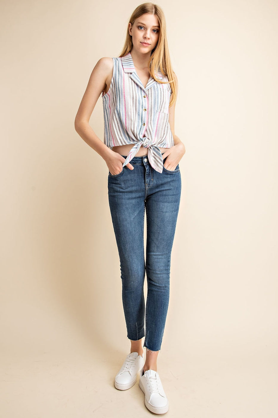 Sleeveless Top With Tie-Front Button Down Pocket Detail Siin Bees