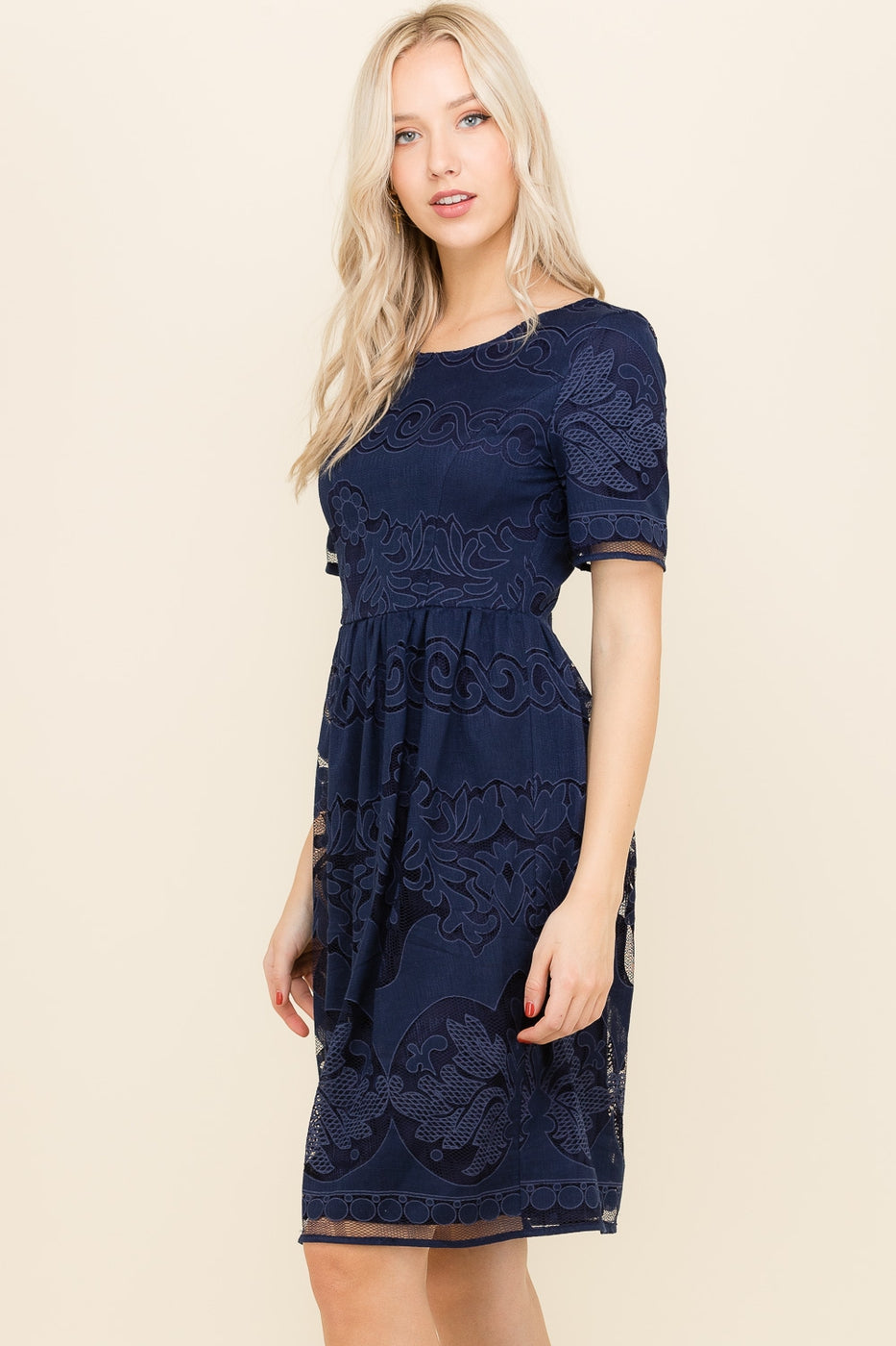 Ruby Short Sleeve Lace Midi Dress In Navy Siin Bees