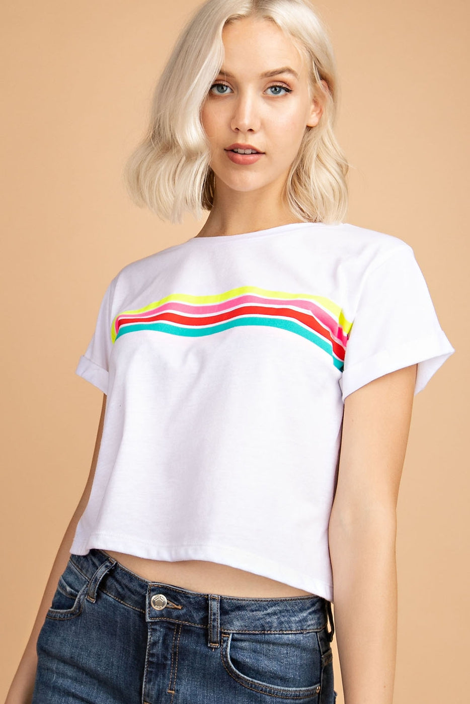 Short Sleeve Top With Stripe Graphic In Off-White Siin Bees